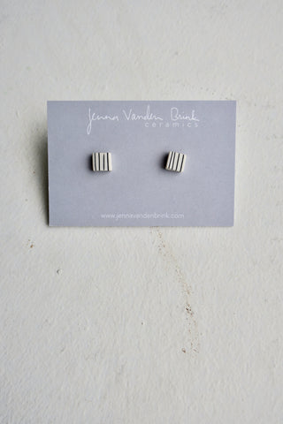 Pinstripe Porcelain Square Stud Earrings