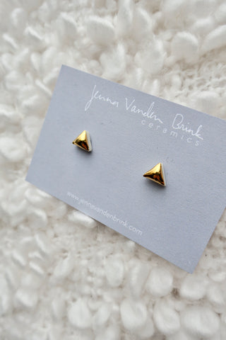 Triangle Gold Porcelain Stud Earrings