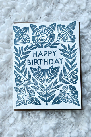 Happy Birthday Block Printed Card