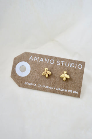 Tiny Honey Bee Stud Earrings