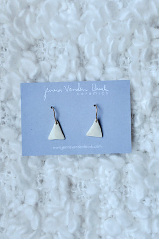 Tiny Triangle Porcelain Drop Earrings