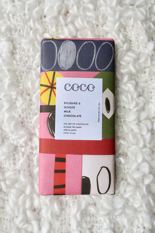 COCO Rhubarb & Ginger Milk Chocolate Bar