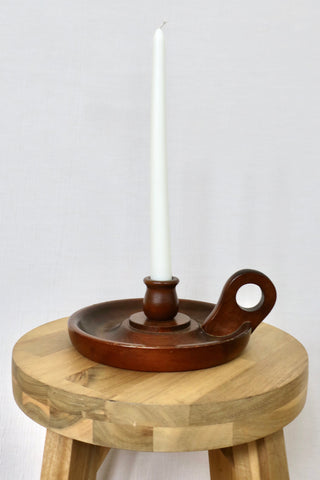 Vintage Wooden Candlestick Holder