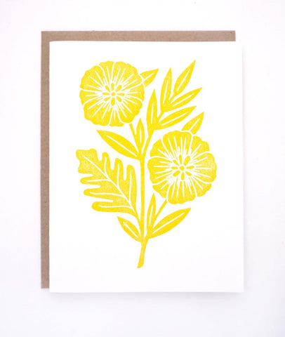 Yellow Flower Block Printed Card