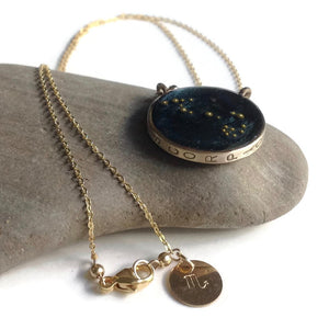 Gold Scorpio Constellation Necklace Sky Blue | Gold Scorpio Zodiac Sign Necklace | Scorpio Necklace | Scorpio Gift | Scorpio Jewelry