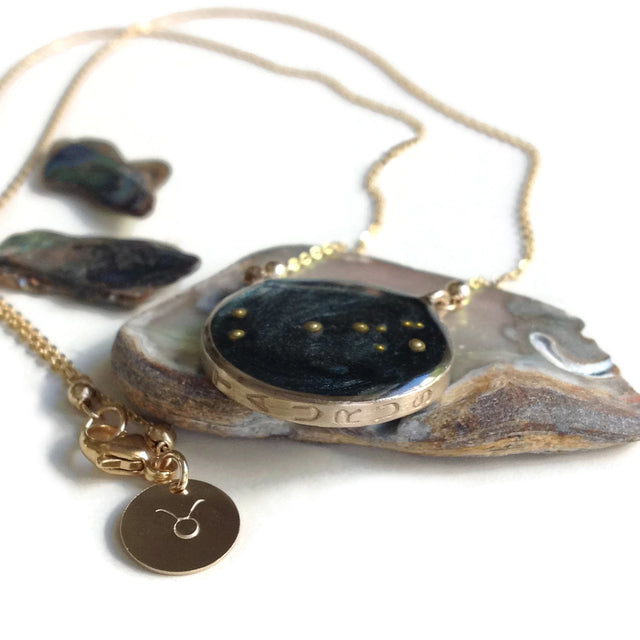 Taurus Astrology Necklace Night Sky Gold Filled by Carla De La Cruz Jewelry