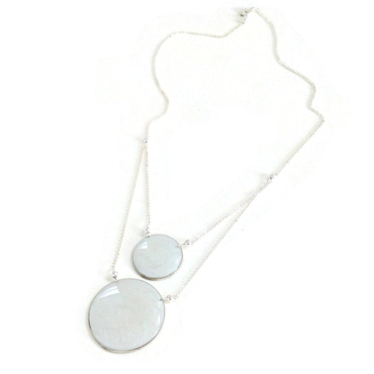 Aegean Two Circle Necklace Pearl White
