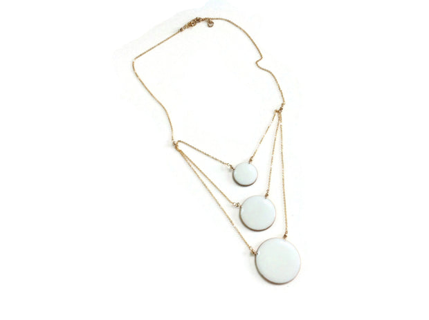 Aegean Three Circle Necklace White