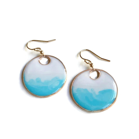 Aegean Gold Circle Dangle Earrings Ombré | Ombré Blue Circle Earrings | Gold Circle Earrings | Ocean Earrings | Dangle Statement Earrings
