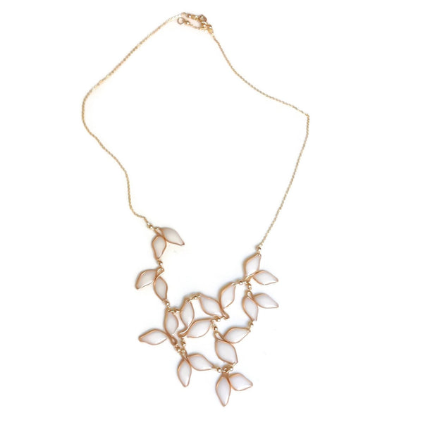 Pearl White Leaf Bib Necklace 14k Gold Filled