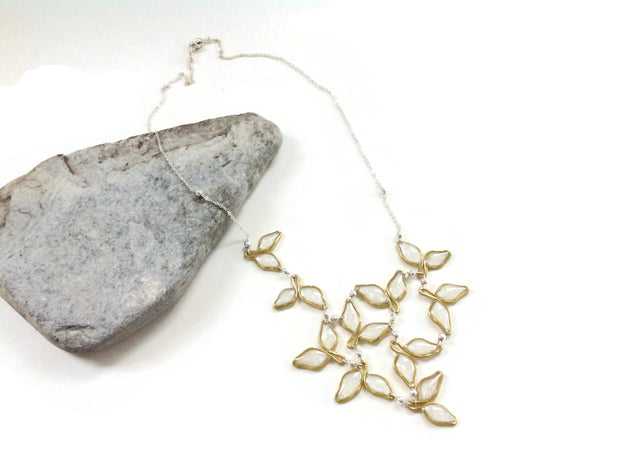 Anthos Leaf Bib Necklace Pearl White Mixed Metal