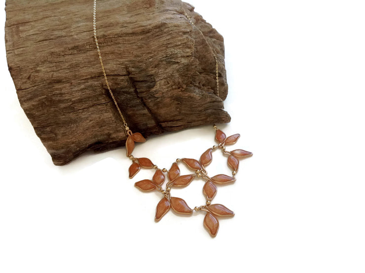 Pearl Rose Gold Anthos Leaf Bib Necklace by Carla De La Cruz Jewelry