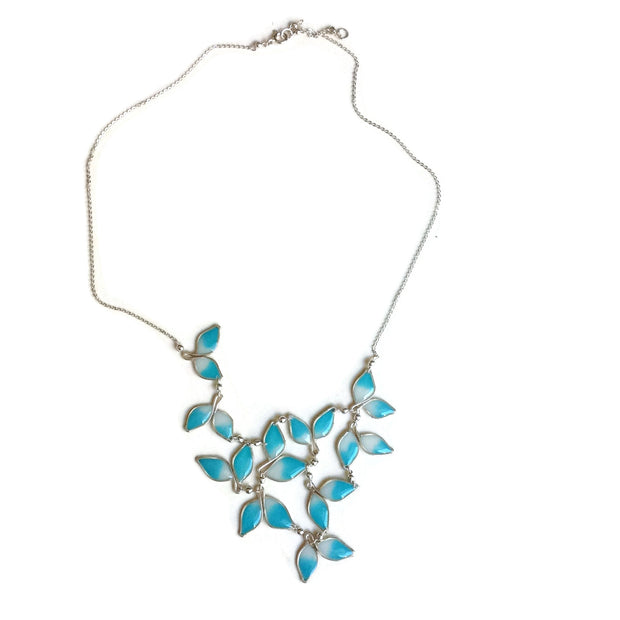 Anthos Leaf Bib Necklace Ombré Blue by Carla De La Cruz Jewelry