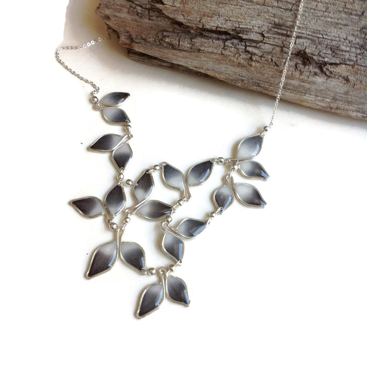 Anthos Leaf Bib Necklace Ombré Gray by Carla De La Cruz Jewelry