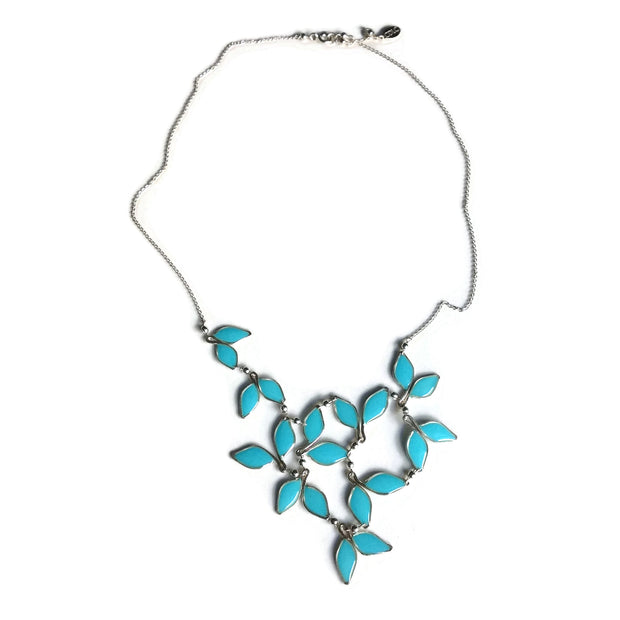 Turquoise Anthos Leaf Bib Necklace by Carla De La Cruz Jewelry | Turquoise and Gold Necklace | Turquoise Statement Necklace | Necklace for Mom