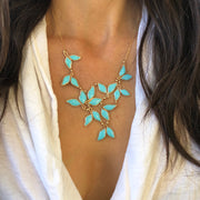 Anthos Leaf Bib Necklace Turquoise Blue