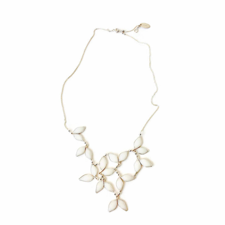 Anthos Leaf Bib Necklace Pearl White