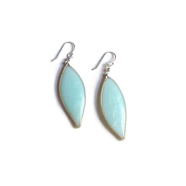 Anthos Leaf Drop Earrings Sky Blue Sterling Silver | Carla De La Cruz Jewelry