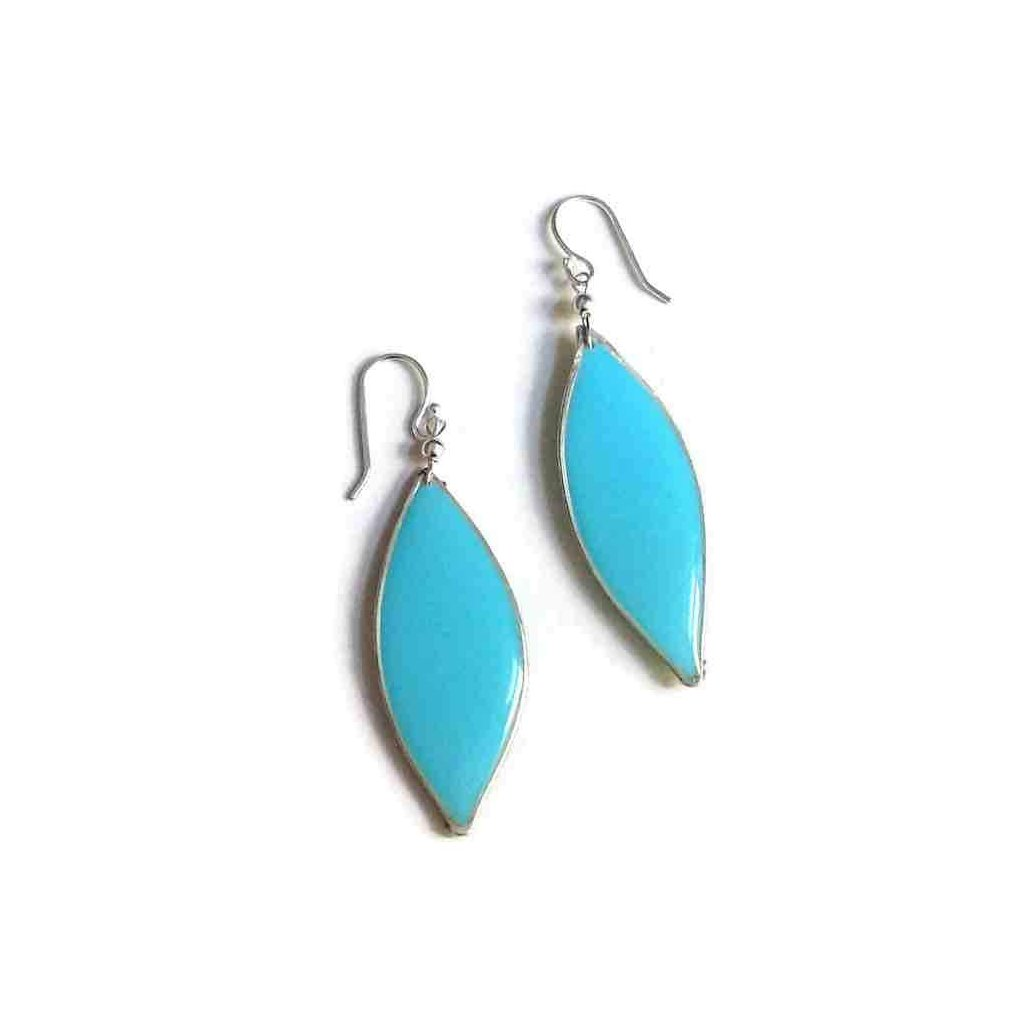 Anthos Leaf Drop Earrings Turquoise Sterling Silver | Carla De La Cruz Jewelry
