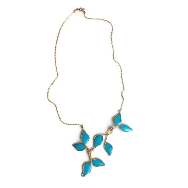 Anthos Leaf Necklace by Carla De La Cruz Jewelry | Turquoise Blue Gold Leaf Necklace | Turquoise Blue Statement Necklace | Floral Necklace | Blue and Gold Necklace