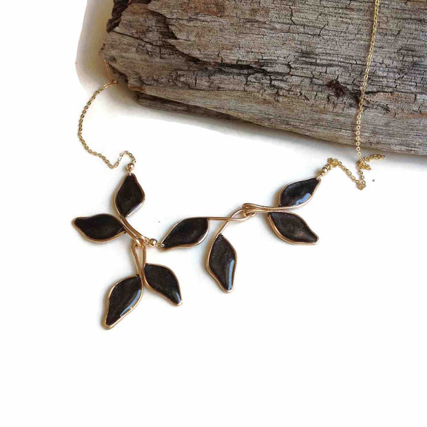 Pearl Gray Anthos Leaf Necklace by Carla De La Cruz Jewelry | Gold Leaf Necklace Pearl Gray | Floral Necklace | Pearl Gray Necklace | Statement Necklace | Bridal Necklace | Black and Gold