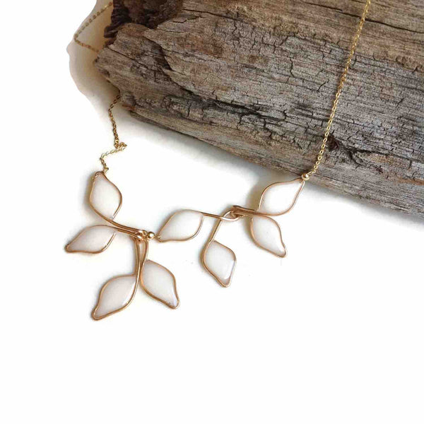 Pearl White Anthos Leaf Necklace by Carla De La Cruz Jewelry | Gold Leaf Necklace Pearl White | Statement Necklace | Bridal Necklace | Wedding Necklace | Floral Necklace | Bridesmaid Necklace | Petal Necklace