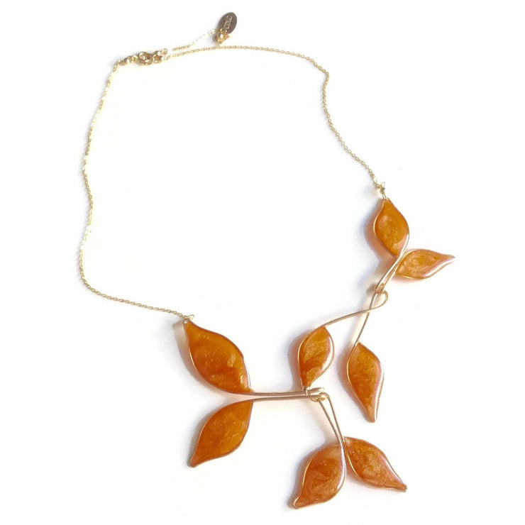 Rose Gold Anthos Leaf Necklace by Carla De La Cruz Jewelry | Peaarl Rose Gold Leaf Necklace | Gold Statement Necklace | Gold Floral Necklace | Fall Necklace | Autumn Jewelry