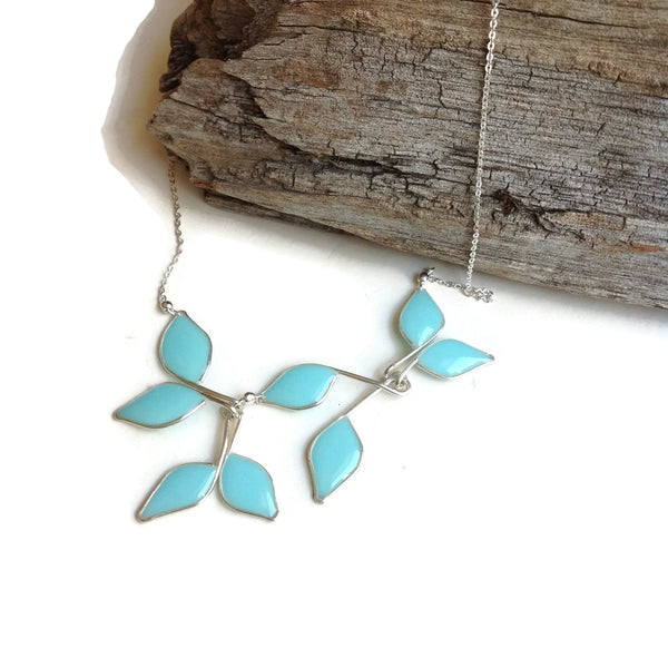 Anthos Leaf Necklace by Carla De La Cruz Jewelry | Sterling Silver Leaf Necklace Sky Blue | Statement Necklace | Bridal Necklace | Wedding Necklace | Floral Necklace | Bridesmaid Necklace
