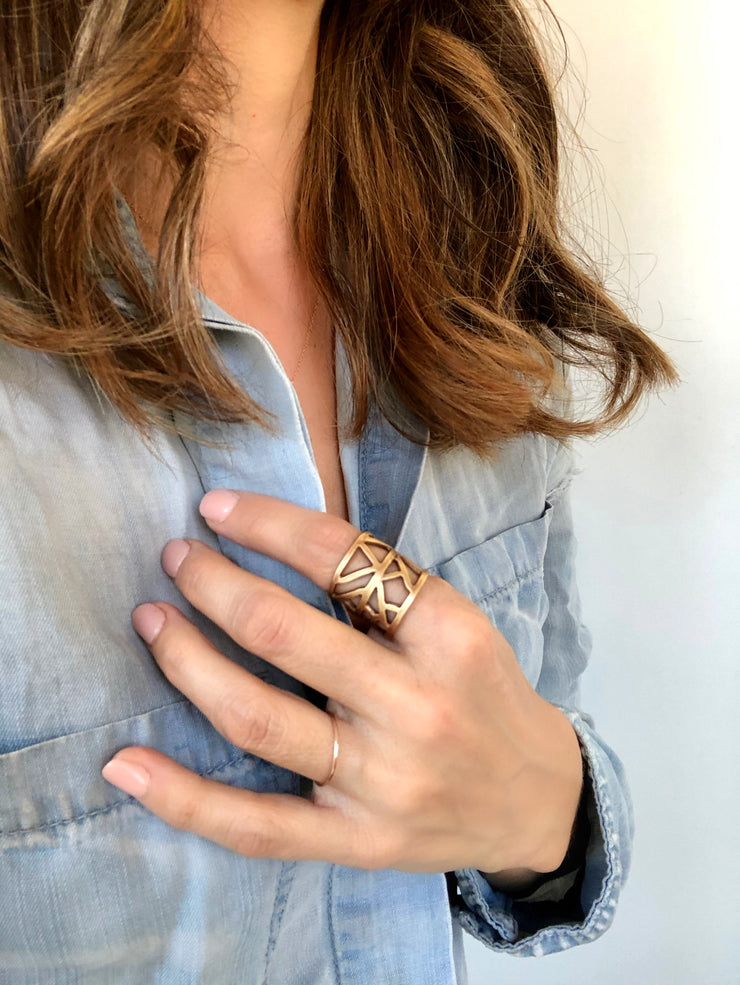 Aztec Feather Cuff Ring