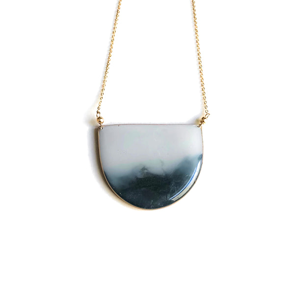 Gray Ombré Half Circle Pendant Necklace | Half Moon Necklace | Statement Necklace | Carla De La Cruz Jewelry