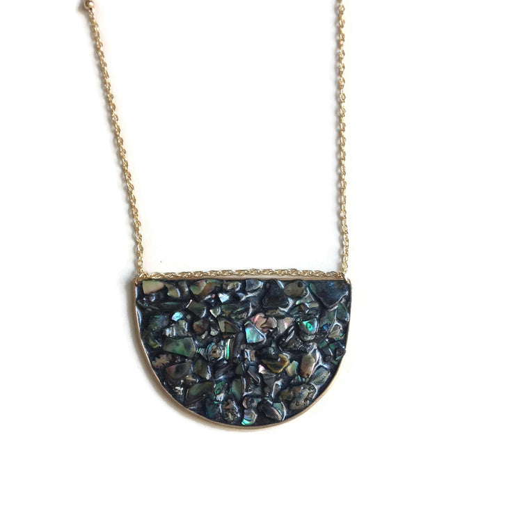 Paua Shell Half Circle Pendant Necklace | Paua Shell Necklace | Half Moon Necklace | Statement Necklace | Carla De La Cruz Jewelry