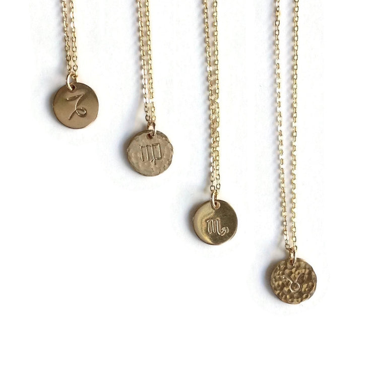 Zodiac Charm Necklace Gold