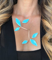 Anthos Large Leaf Necklace Turquoise Blue