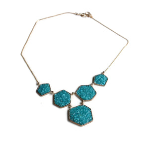 Turquoise Geometric Druzy Bib Necklace | Turquoise Statement Necklace | Turquoise Necklace | Druzy Necklace | Blue Geometric Necklace