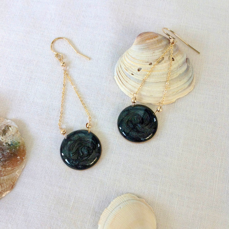 Black Swirl Circle Dangle Earrings Gold Filled
