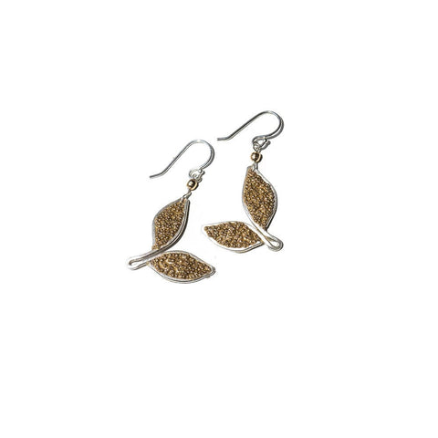 Anthos Gold Bead Leaf Dangle Earrings