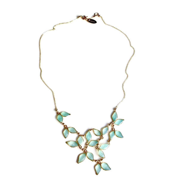 Blue Anthos Leaf Bib Necklace by Carla De La Cruz Jewelry | Blue and Gold Necklace | Blue Statement Necklace | Necklace for Mom