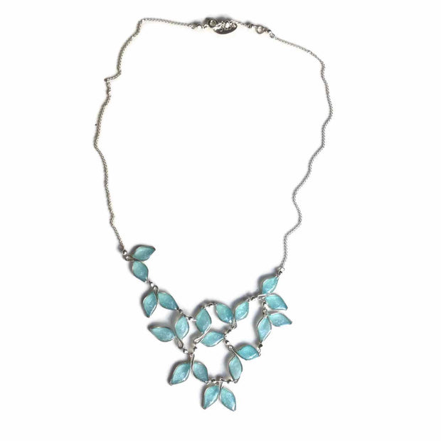 Blue Anthos Leaf Bib Necklace by Carla De La Cruz Jewelry | Blue and Silver Necklace | Blue Statement Necklace | Necklace for Mom