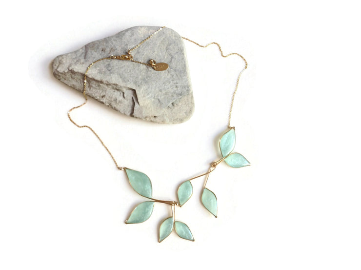 Clear Blue Statement Necklace | Gold Leaf Necklace | Silver Floral Necklace | Blue and Gold Necklace | Clear Sky Blue Wedding Necklace