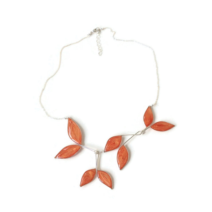 Anthos Leaf Necklace Pearl Rose Gold