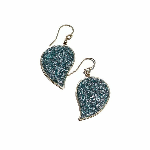 Anthos Large Micro Bead Leaf Earrings