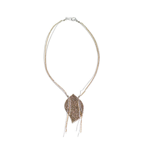 Anthos Gold Bead Leaf Necklace