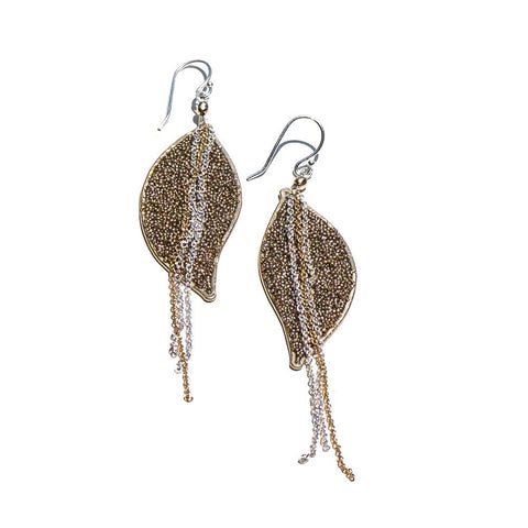Anthos Gold Bead Large Leaf Earrings