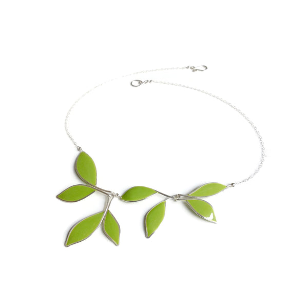 Olive Anthos Leaf Necklace by Carla De La Cruz Jewelry | Silver Leaf Necklace Olive Green | Statement Necklace | Bridal Necklace | Wedding Necklace | Floral Necklace | Green Leaf Necklace | Petal