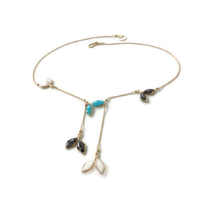 Anthos Hanging Leaf Necklace Tri Color