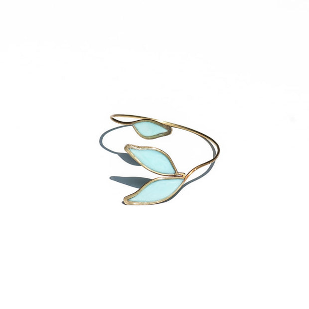 Blue Anthos Cuff by Carla De La Cruz Jewelry | Flower Cuff | Leaf Bracelet