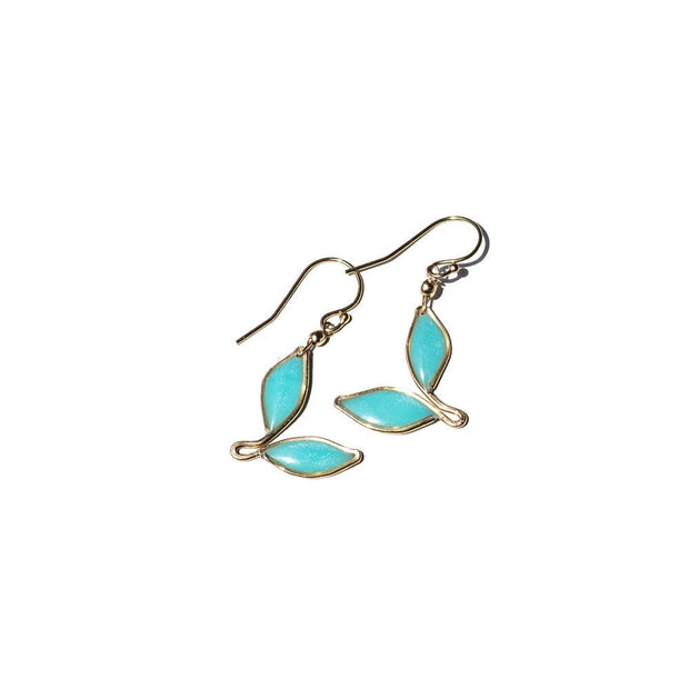 Turquoise Anthos Leaf Drop Earrings Turquoise Sterling Silver | Carla De La Cruz Jewelry