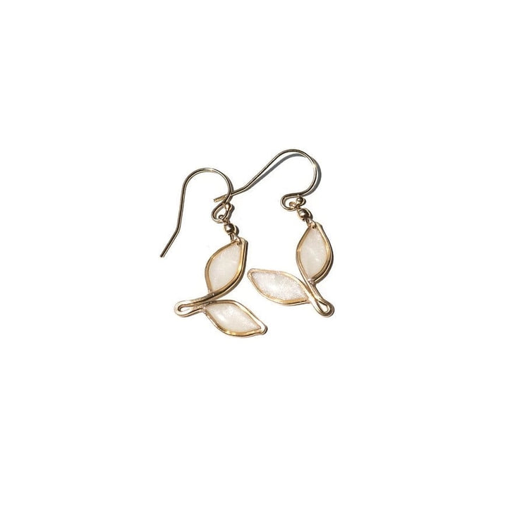 Pearl White Anthos Double Leaf Drop Earrings Petite by Carla De La Cruz Jewelry