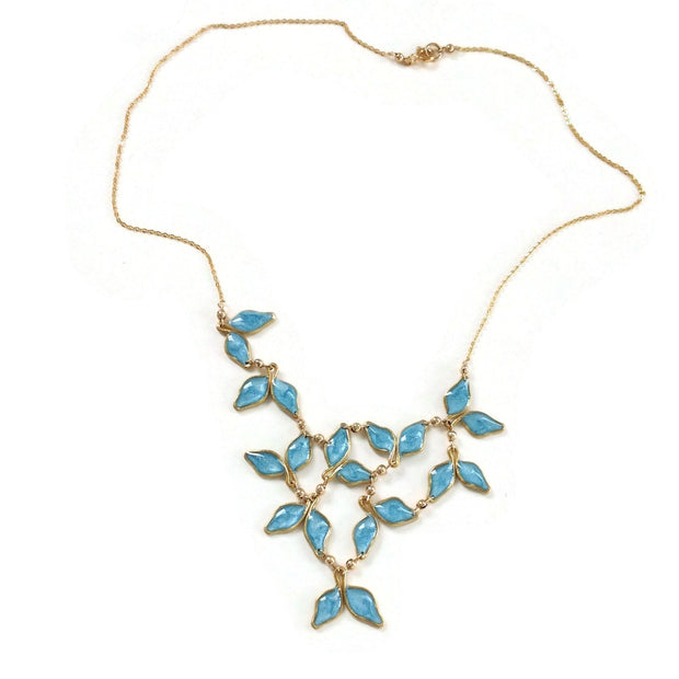 Anthos Leaf Bib Necklace Dark Turquoise Mica
