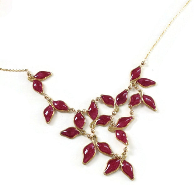 Anthos Leaf Bib Necklace Merlot Mica